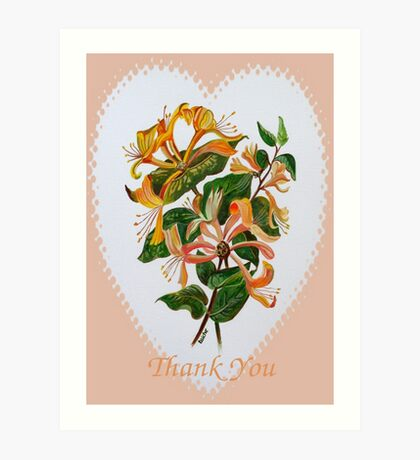 Thank You with Honeysuckle Art Print