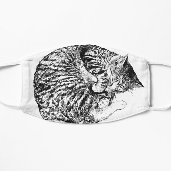 Illustrated Sleeping Cat Flat Mask