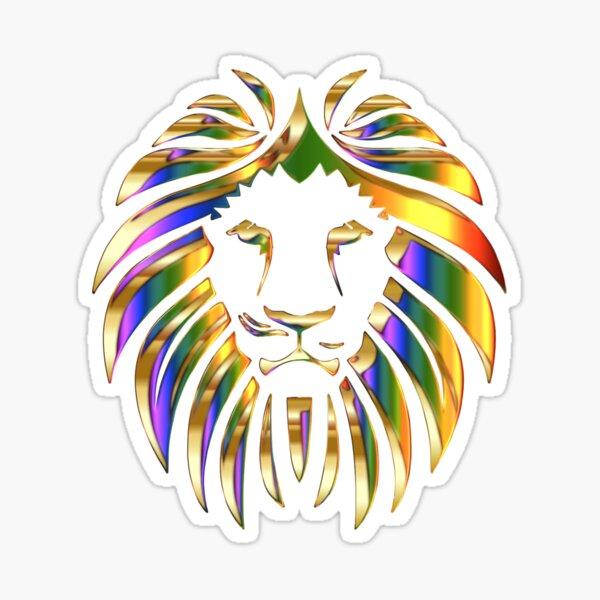 Gold Rainbow Lion Head Sticker
