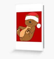 Christmas Brown Bear with Red Santa Hat Greeting Card