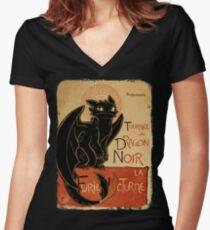 Le Dragon Noir Women's Fitted V-Neck T-Shirt