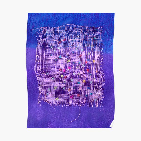 Grid - Abstract Art Work With Stitching Poster