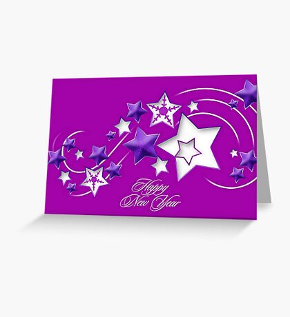 Fucshia and Purple Happy New Year Shooting Stars Greeting Card