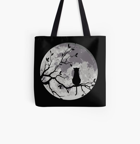 The Cat And The Moon All Over Print Tote Bag
