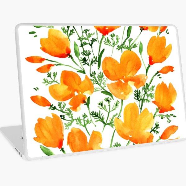 Watercolor California poppies Laptop Skin