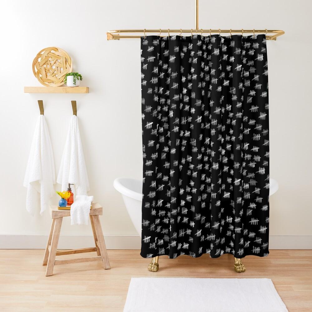 Anticipiating countdown - white on black Shower Curtain