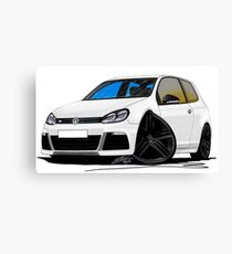 VW Golf R White (Black Wheels) Canvas Print