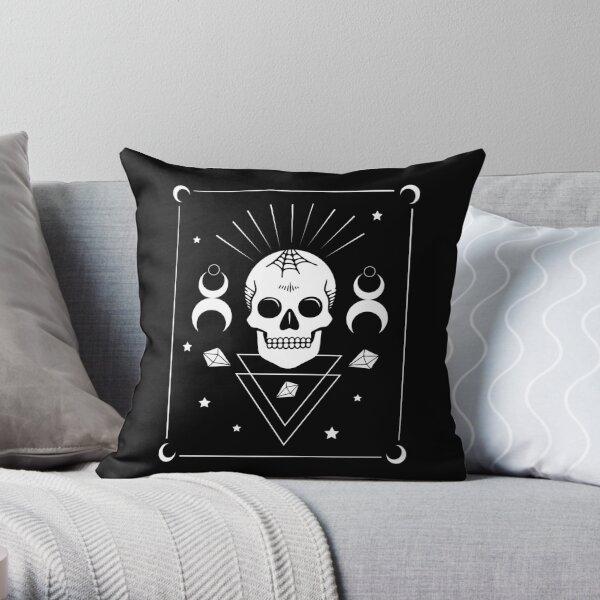 Skull & Witchcraft Symbols • Goth Throw Pillow