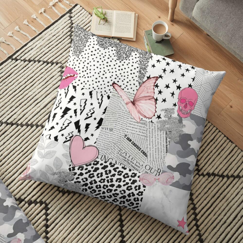 black pink white vsco collage Floor Pillow