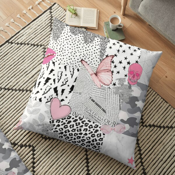 black pink white vsco collage Floor Pillow