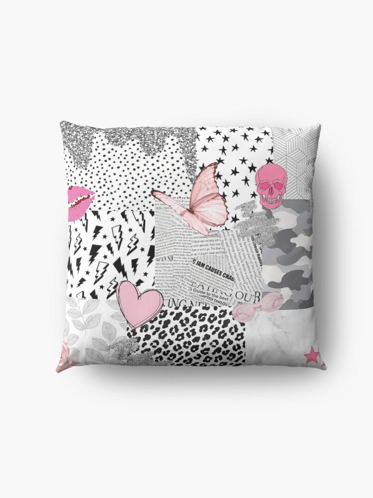 Alternate view of black pink white vsco collage Floor Pillow