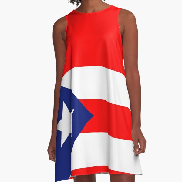 Puerto Rican Flag A-Line Dress