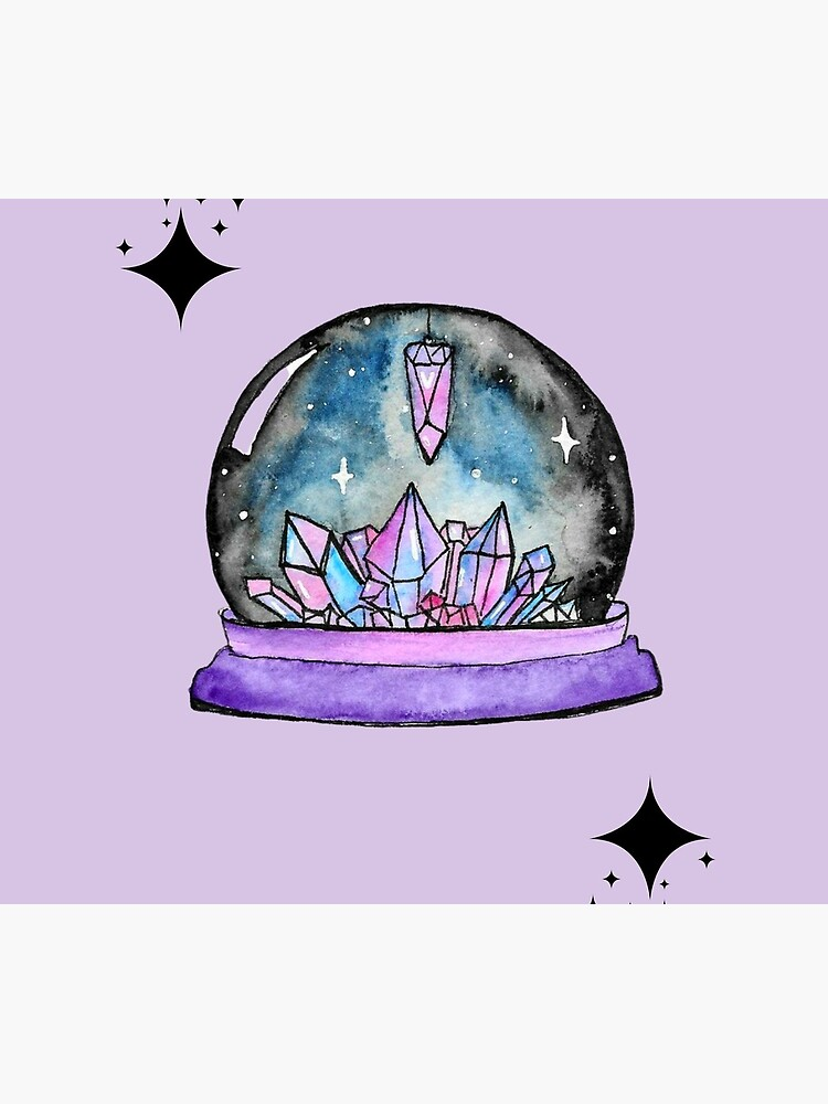 purple crystal ball watercolour art by artbylenashop