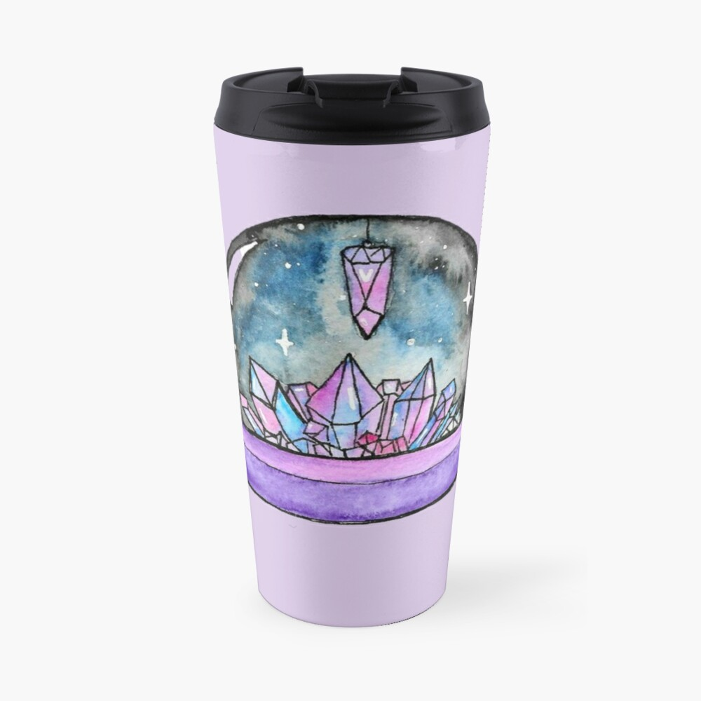 purple crystal ball watercolour art Travel Mug
