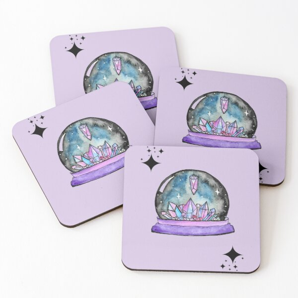 purple crystal ball watercolour art Coasters (Set of 4)