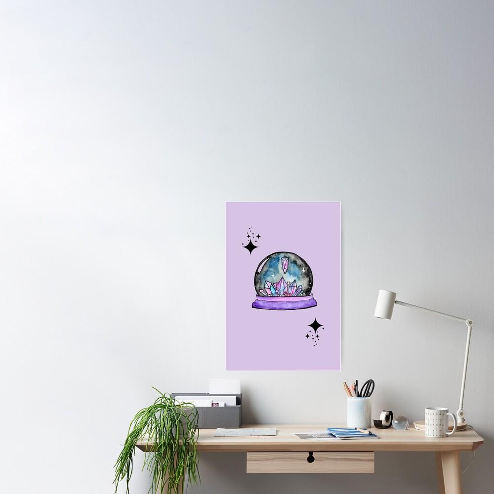 purple crystal ball watercolour art Poster