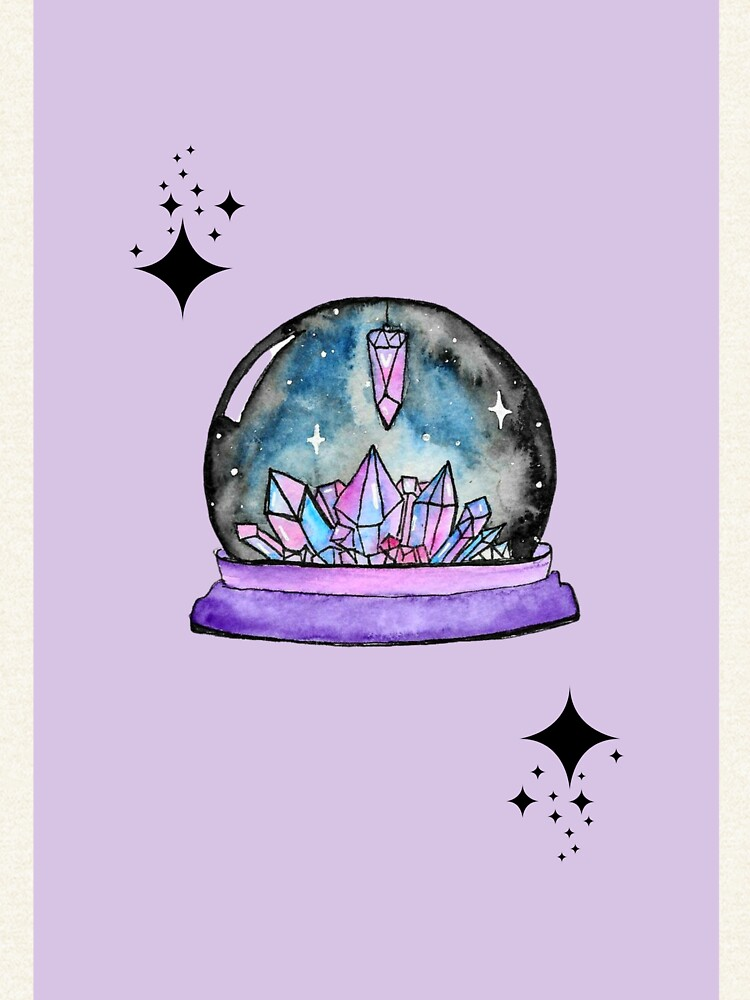 purple crystal ball watercolour art by artbylenashop