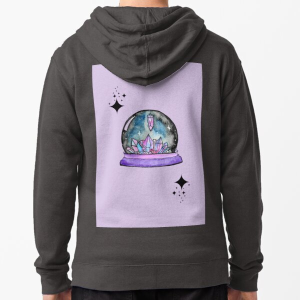purple crystal ball watercolour art Zipped Hoodie
