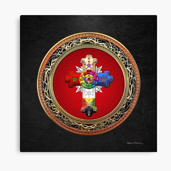 Rosy Cross - Rose Croix Special Edition on Red over Black Leather Canvas Print