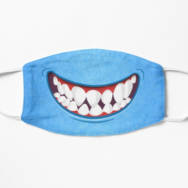 Toothy Smile Blue Fuzzy Monster Mouth Mask