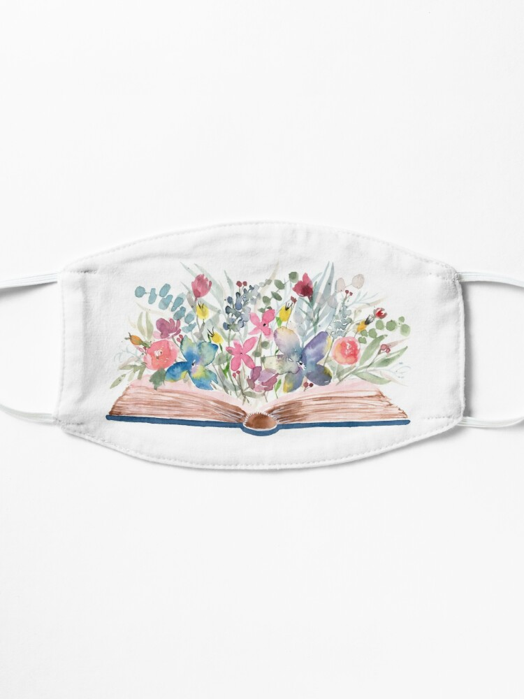 Alternate view of Watercolor Open Book with Florals Mask