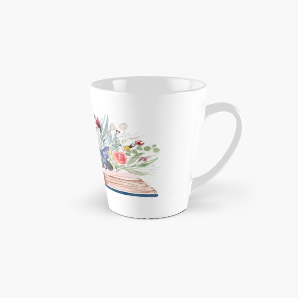 Watercolor Open Book with Florals Tall Mug