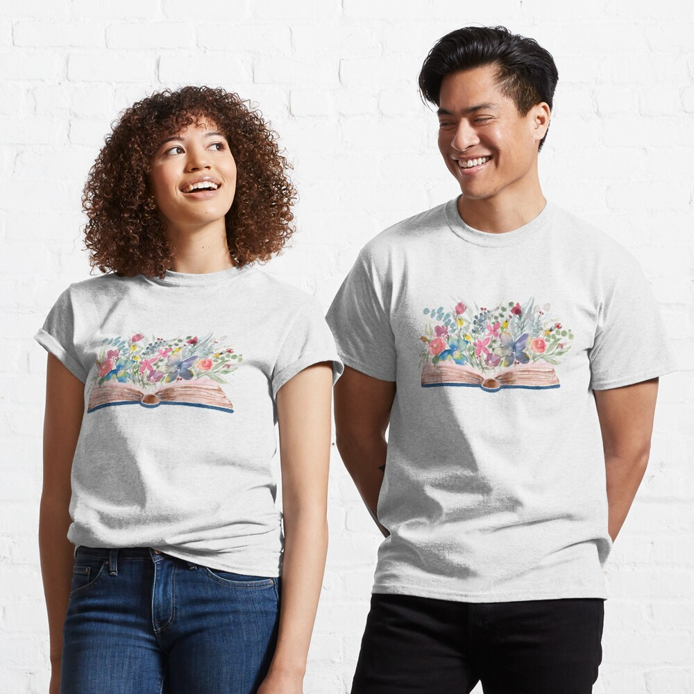 Watercolor Open Book with Florals Classic T-Shirt