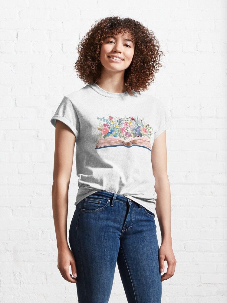 Alternate view of Watercolor Open Book with Florals Classic T-Shirt