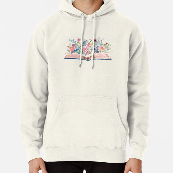 Watercolor Open Book with Florals Pullover Hoodie