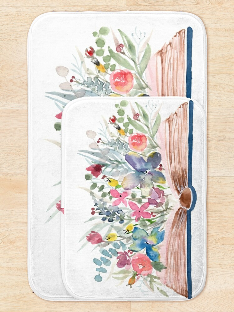 Alternate view of Watercolor Open Book with Florals Bath Mat