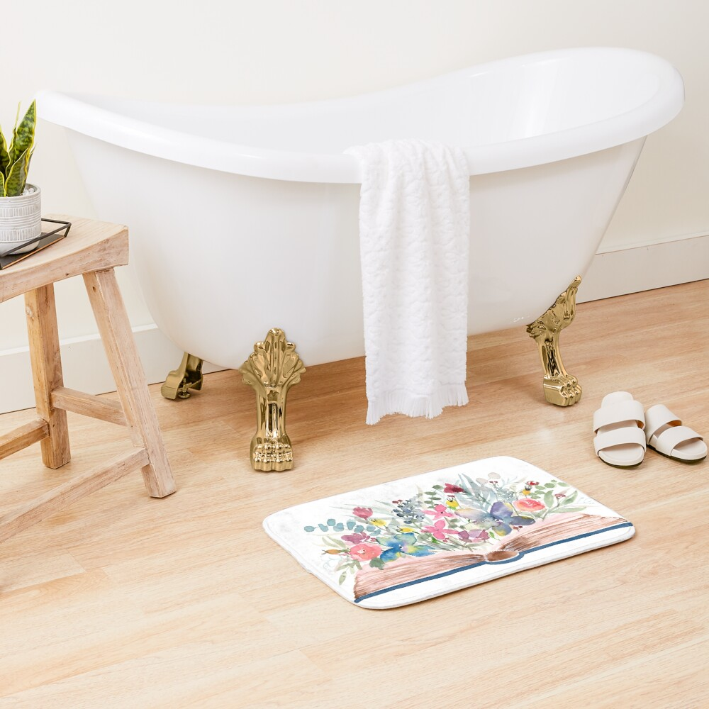 Watercolor Open Book with Florals Bath Mat