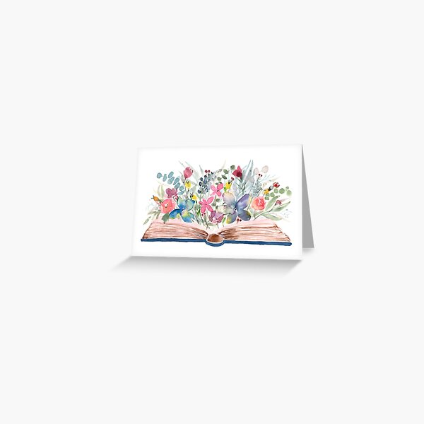Watercolor Open Book with Florals Greeting Card