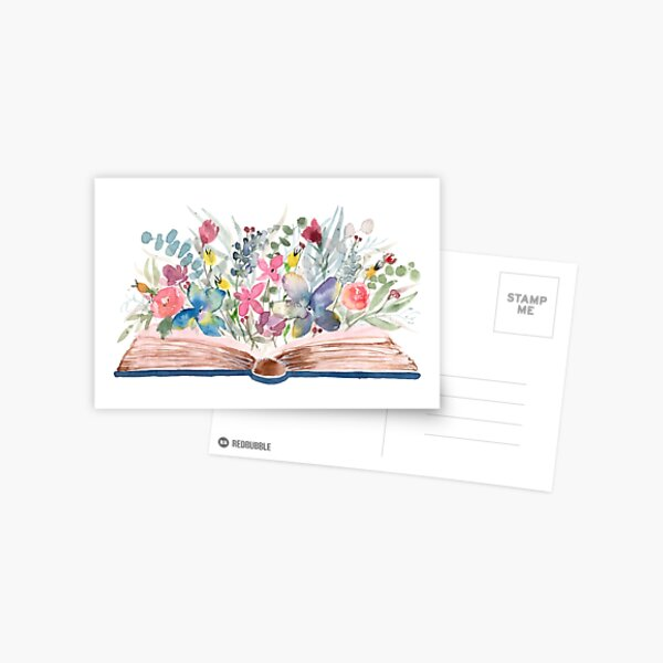 Watercolor Open Book with Florals Postcard