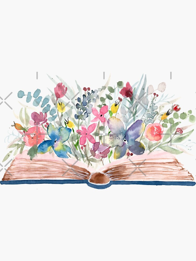 Watercolor Open Book with Florals by Harpleydesign
