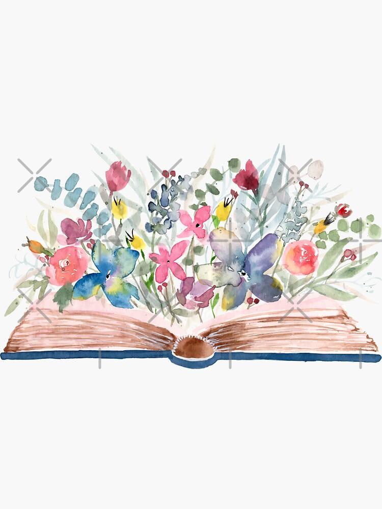Aquarell offenes Buch mit Blumen von Harpleydesign