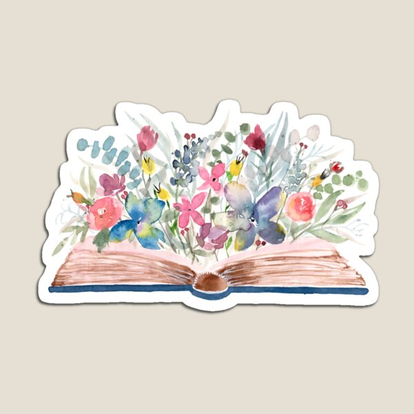 Watercolor Open Book with Florals Magnet