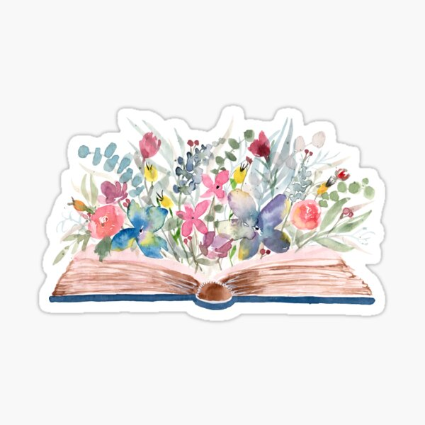 Watercolor Open Book with Florals Sticker