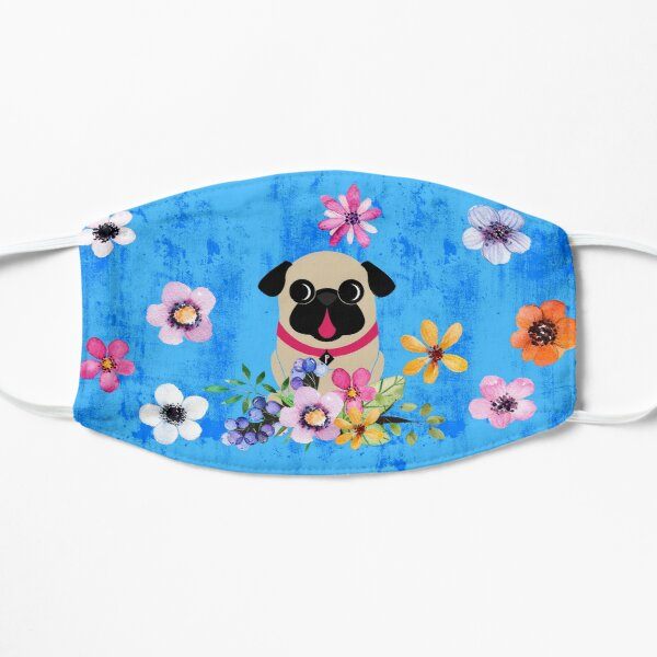 Fawn Pug In Flowers Flat Mask