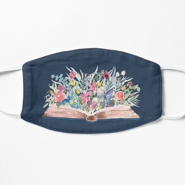 Watercolor Open Book with Florals on Navy Mask