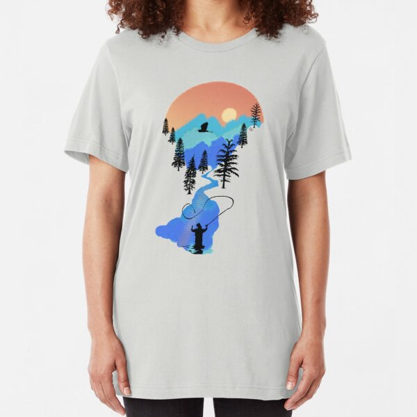 Fly Fishing Mountain Sunset by TeeCreations Slim Fit T-Shirt