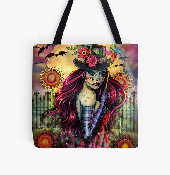 Sugar Skull Girl Fantasy Artwork by Molly Harrison All Over Print Tote Bag