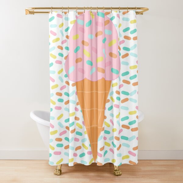 Ice Cream Cone with Sprinkles Background Shower Curtain