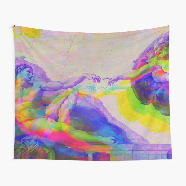 The Creation of Adam from Michelangelo Glitched (Digitally Enhanced) Tapestry