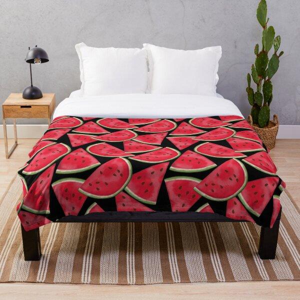 Watermelon on black Throw Blanket