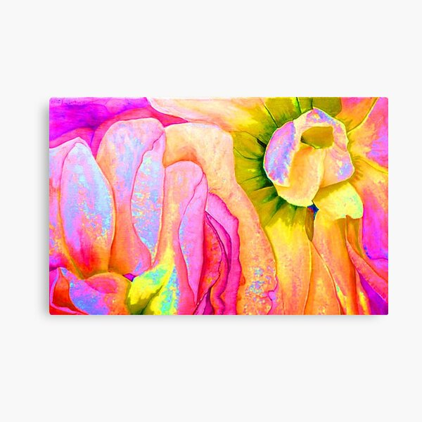 Floral Waves, Original Watercolor Painting, Georgia O'Keeffe Abstract Floral Style Art, Colorful Tropical Floral Art,Tropical Florals Canvas Print