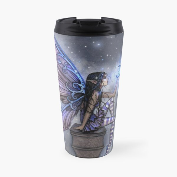 Little Blue Moon Fairy Fantasy Art by Molly Harrison Travel Mug