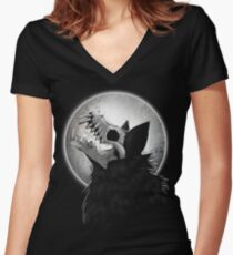 Skull Wolf Howl Women's Fitted V-Neck T-Shirt