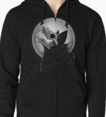 Skull Wolf Howl Zipped Hoodie