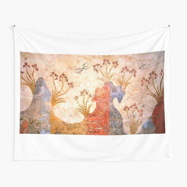 Minoan Spring Fresco West Wall Swallows Scene Tapestry