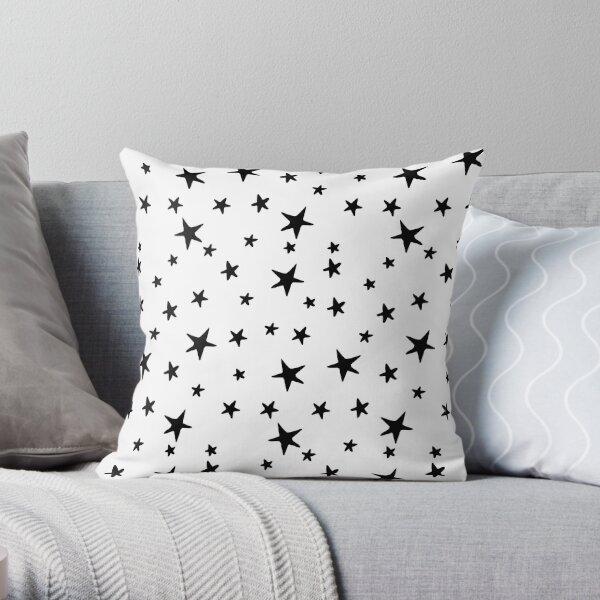 Stars - Black on White Throw Pillow